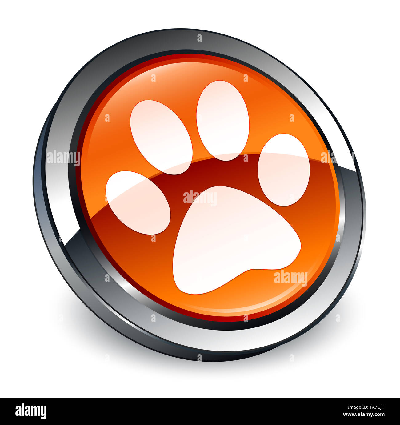 Animal footprint icon isolated on 3d brown round button abstract illustration - Stock Image