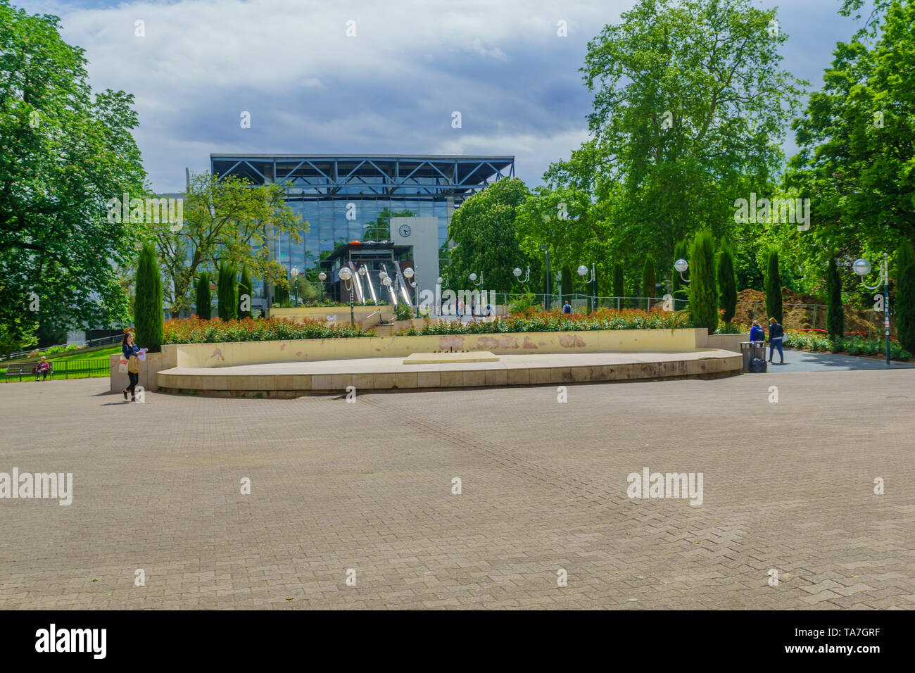 Lyon, France - May 10, 2019: View of the Perrache station, with locals and visitors, in Lyon, France - Stock Image