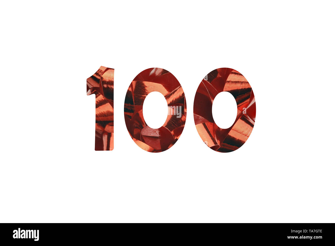 Number 100 - illustration red gift ribbon with cut out number 100 - Stock Image