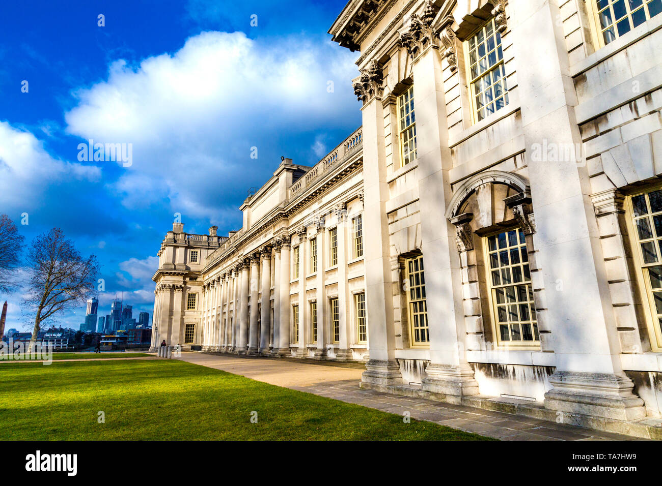 Classical style building of Trinity Laban Conservatoire of Music and Dance exterior in Old Royal Naval College, Greenwich, London. UK - Stock Image