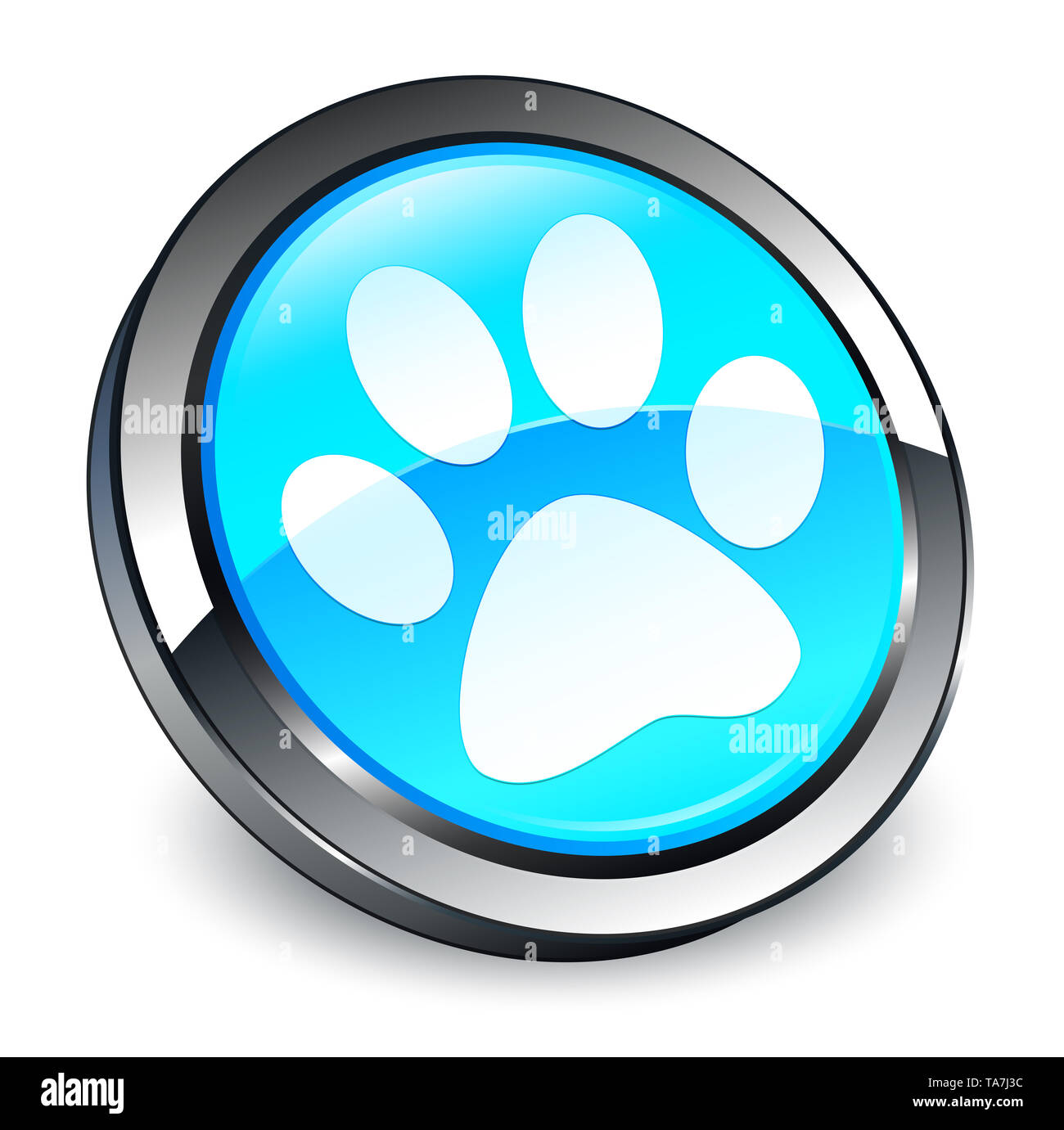 Animal footprint icon isolated on 3d cyan blue round button abstract illustration - Stock Image