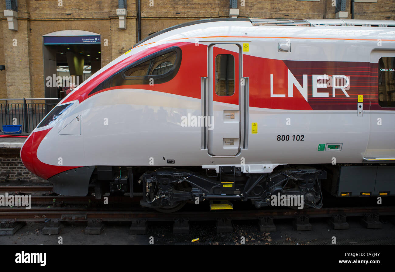 New Azuma train in LNER livery at Kings Cross station, London Stock