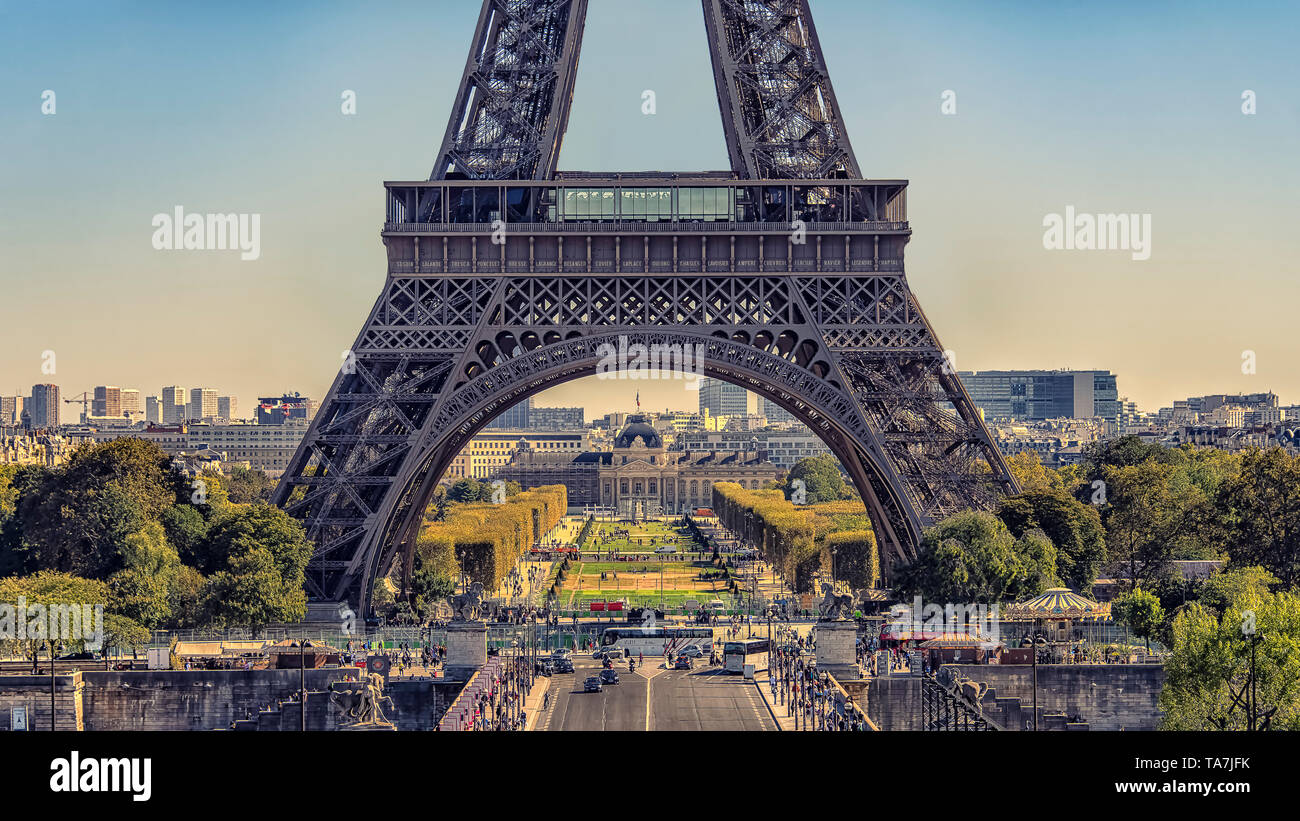 Eiffel tower in Paris viewed from the Trocadero - Stock Image