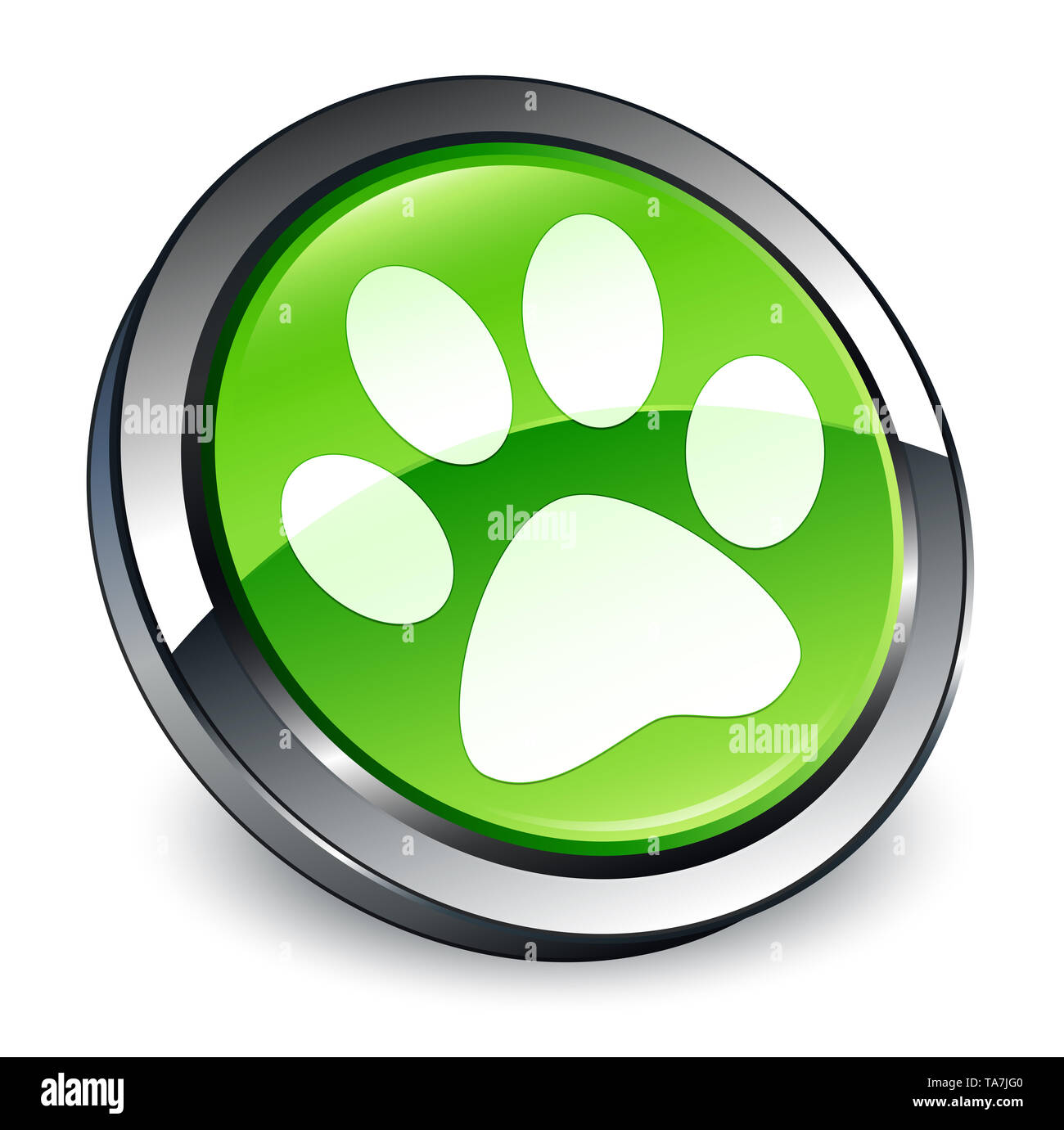 Animal footprint icon isolated on 3d green round button abstract illustration - Stock Image