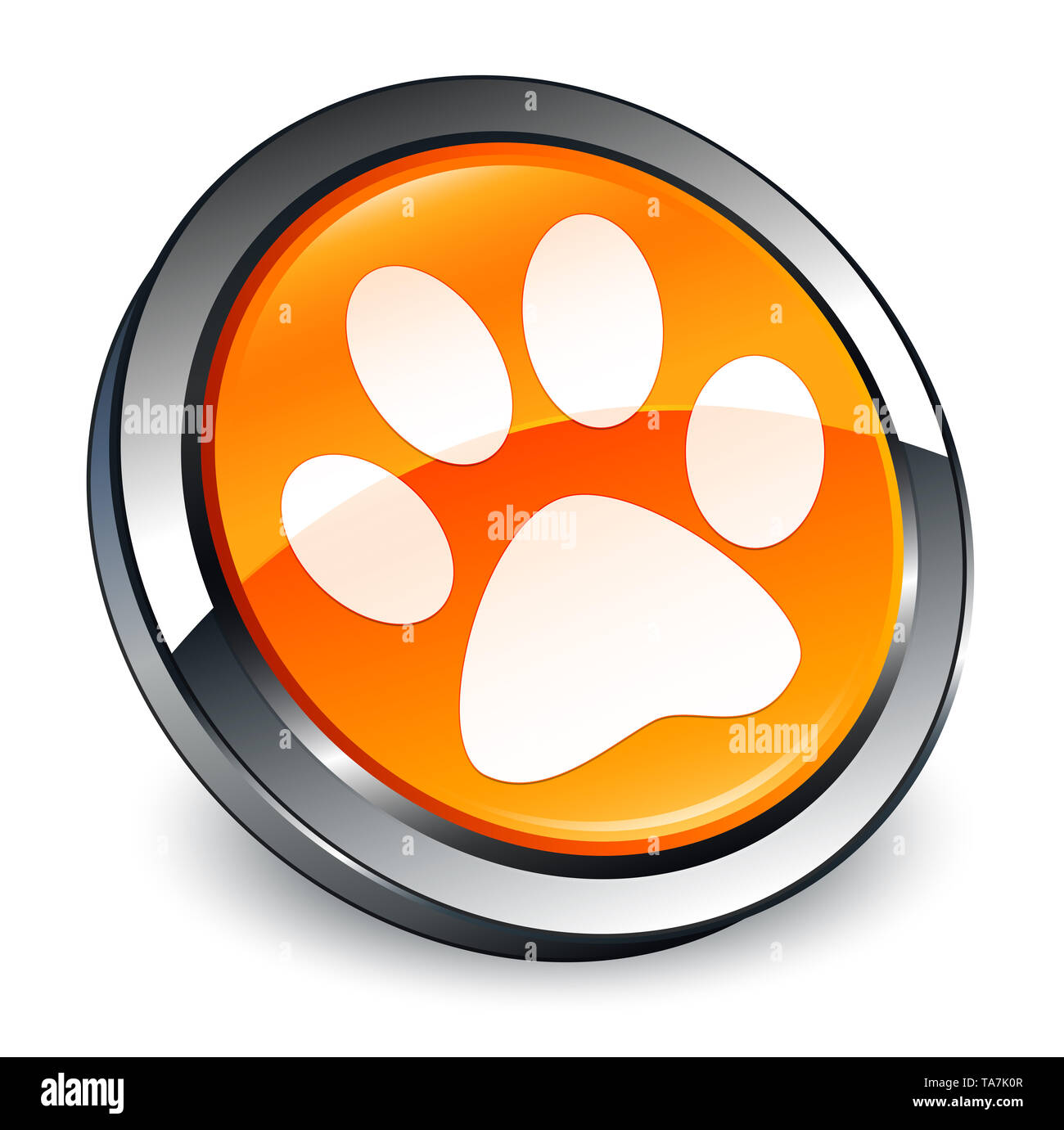 Animal footprint icon isolated on 3d orange round button abstract illustration - Stock Image