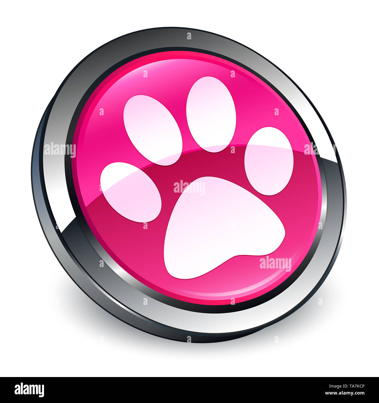 Animal footprint icon isolated on 3d pink round button abstract illustration - Stock Image