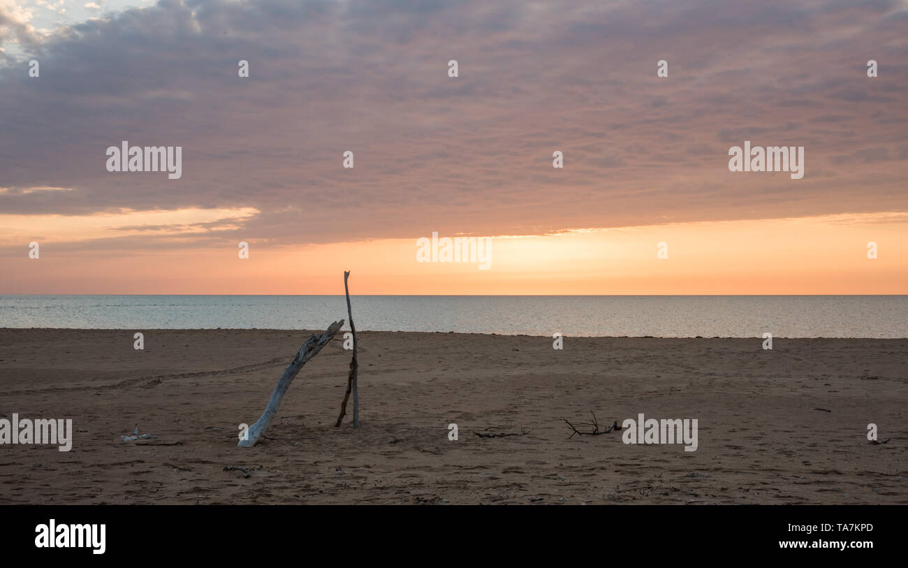 Peaceful orange sunset over the Timor Sea with driftwood on the Bare Sand Island Beach in the NT of Australia - Stock Image