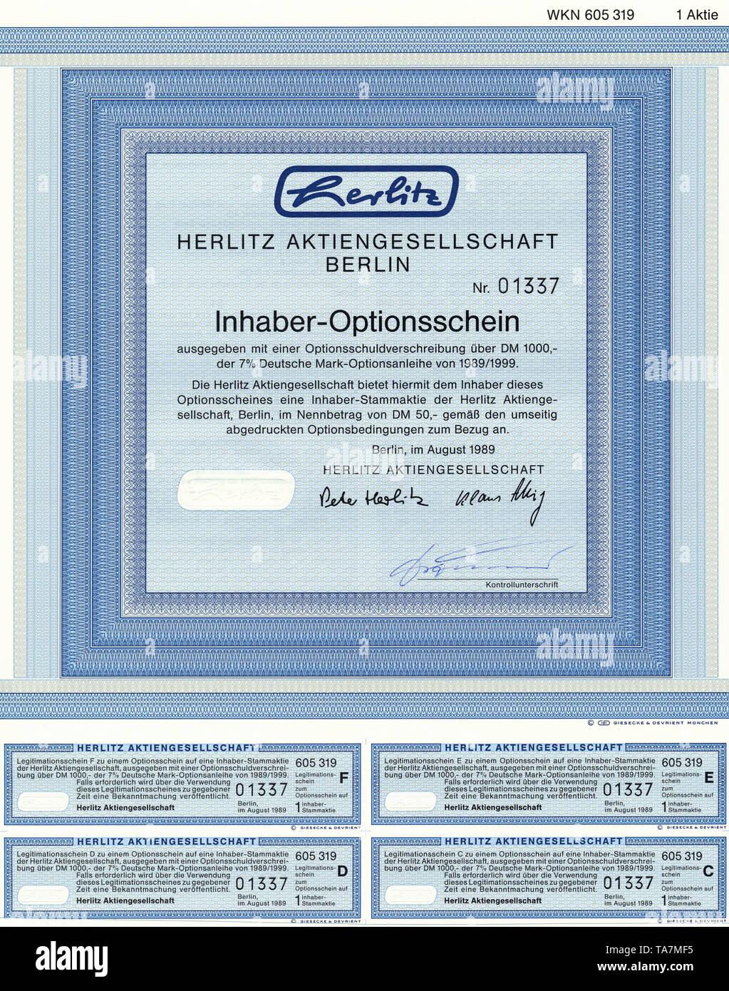 Historic stock certificate, Securities certificate, bearer warrant, Germany, Wertpapier, Inhaber-Optionsschein, Deutsche Mark, Bürobedarf, Herlitz Aktiengesellschaft, Berlin, 1989, Deutschland, Europa - Stock Image