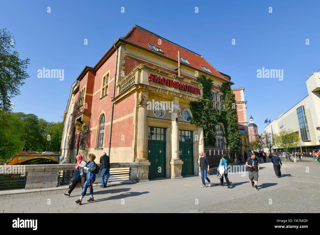 Town library, Carl apron street, Old Town, Spandau, Berlin, Germany, Stadtbibliothek, Carl-Schurz-Straße, Altstadt, Deutschland - Stock Image