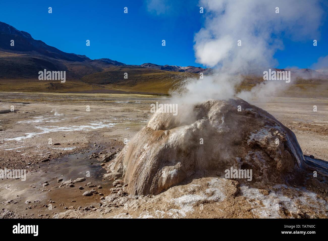 Active Geyser detailed view in El Tatio, Atacama - Stock Image