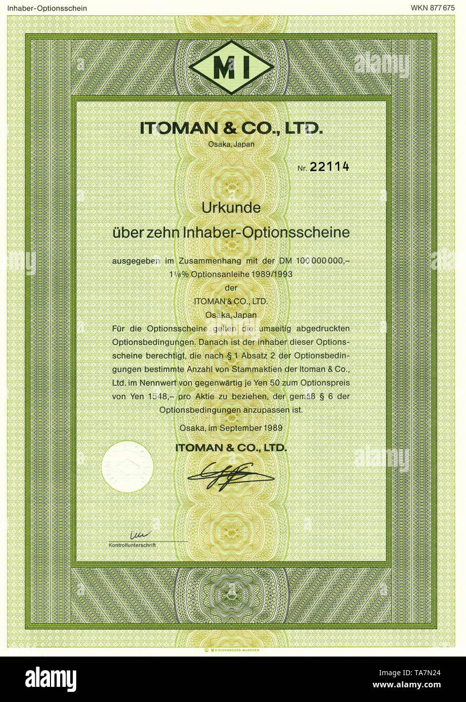 Historic stock certificate, Securities certificate, bearer warrant, Historisches Wertpapier, japanischer Inhaber-Optionsschein, Itoman & Co., Ltd., 1989, Osaka, Japan - Stock Image