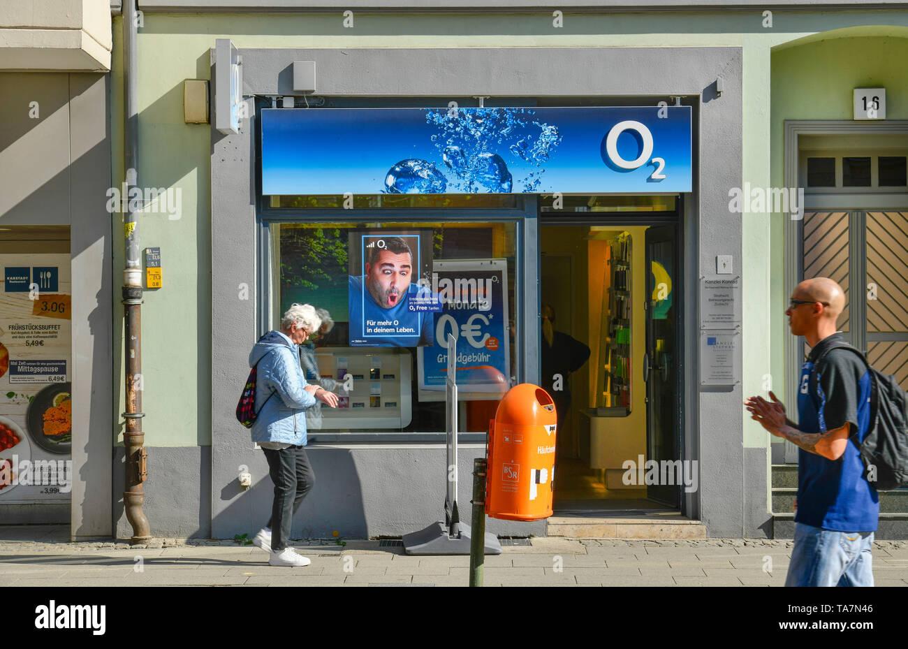 O2, Carl apron street, Old Town, Spandau, Berlin, Germany, Carl-Schurz-Straße, Altstadt, Deutschland - Stock Image