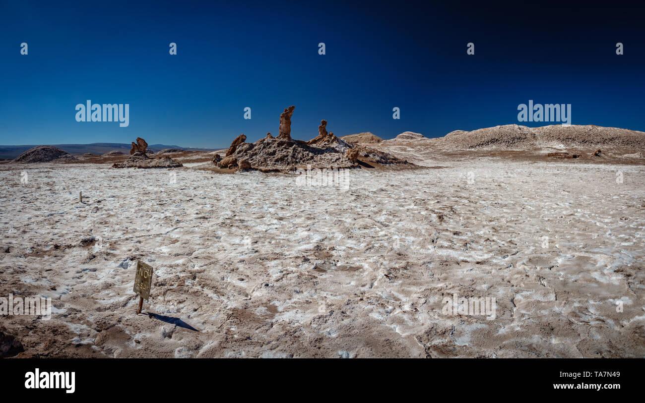 Las Tres Marias (Three Marys) formation at Las Salinas area of the Moon Valley - Stock Image