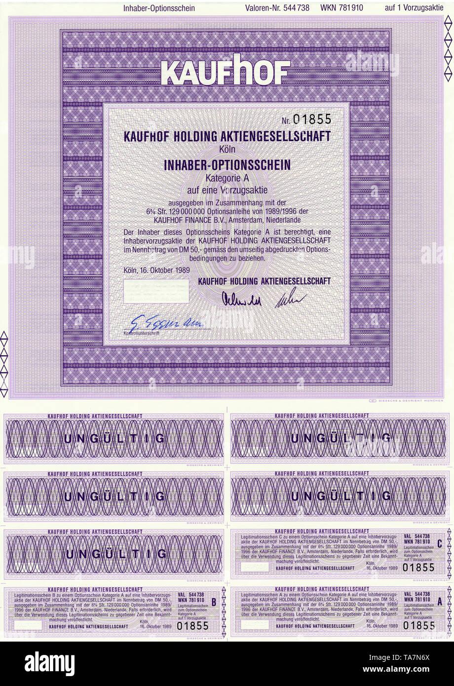 Historic stock certificate, Securities certificate, bearer warrant, Germany, Historisches Wertpapier, Inhaber-Optionsschein, Kaufhof Holding Aktiengesellschaft, 1989, Köln, Deutschland, Europa - Stock Image