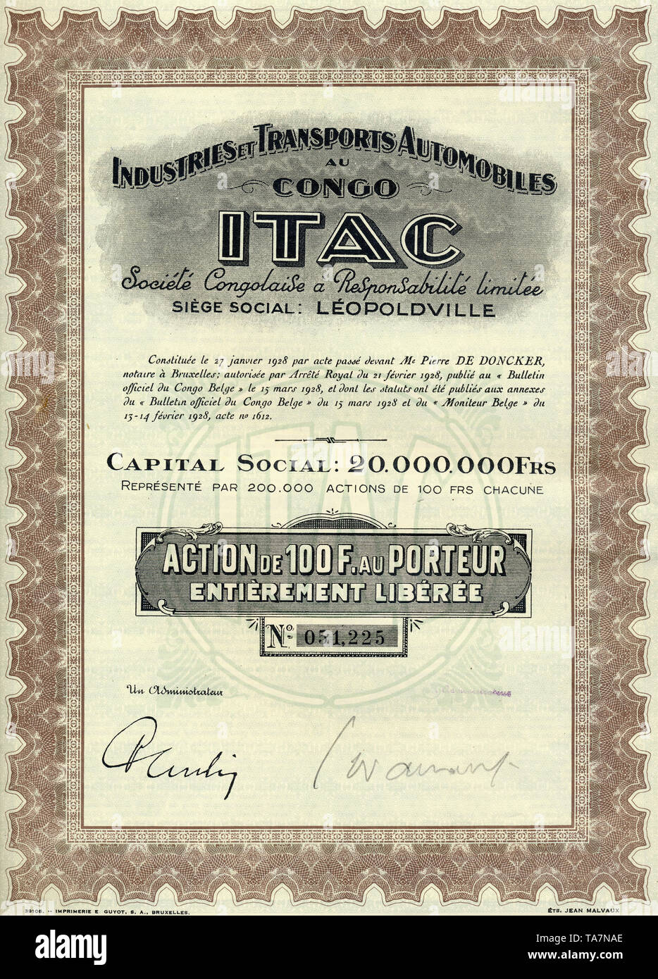 Historic stock certificate, colonial share certificate, 100 Belgian francs, Industries et Transports Automobiles au Congo, ITAC, automotive and transportation industry of Congo, 1928, Leopoldville, Belgian Congo, now Republic of Congo, Africa, Historisches Wertpapier, Kolonial-Aktie über 100 belgische Franc, Automobilindustrie und Transporte im Kongo, Industries et Transports Automobiles au Congo, ITAC, 1928, Leopoldville, Belgisch-Kongo, heute Republik Kongo, Afrika - Stock Image