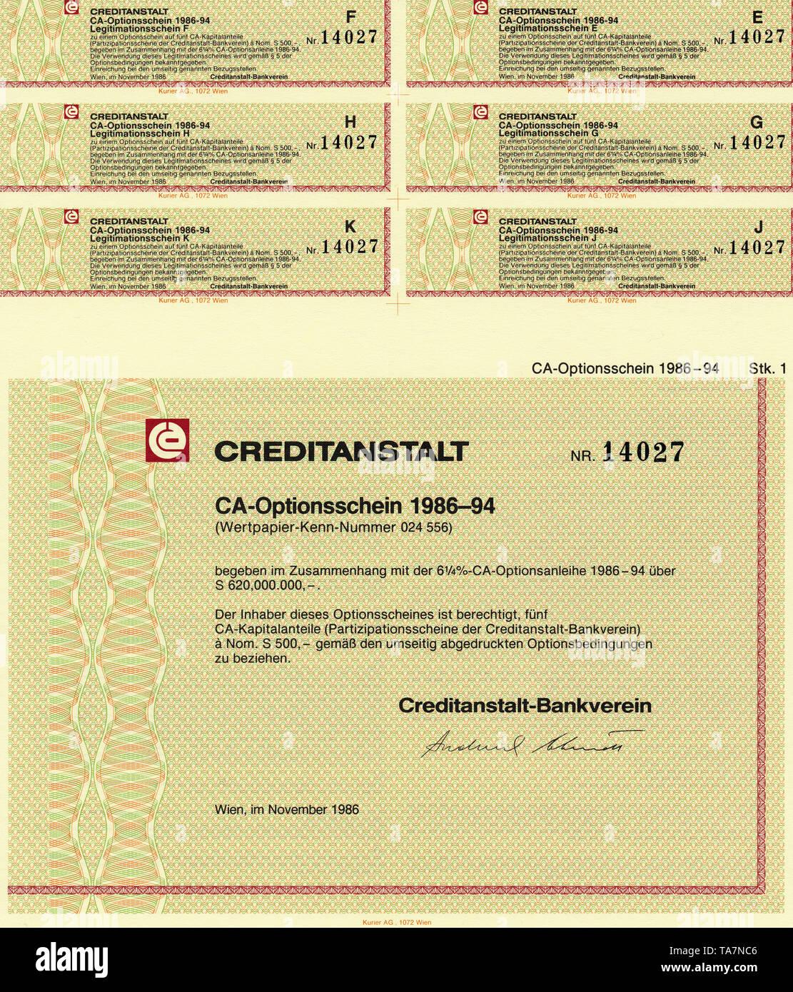Historic stock certificate, Securities certificate, bearer warrant, Wertpapier, Inhaber-Optionsschein, Österreichische Schilling, Creditanstalt Wien, Creditanstalt-Bankverein, CA, Wien, 1986, Österreich, Europa - Stock Image