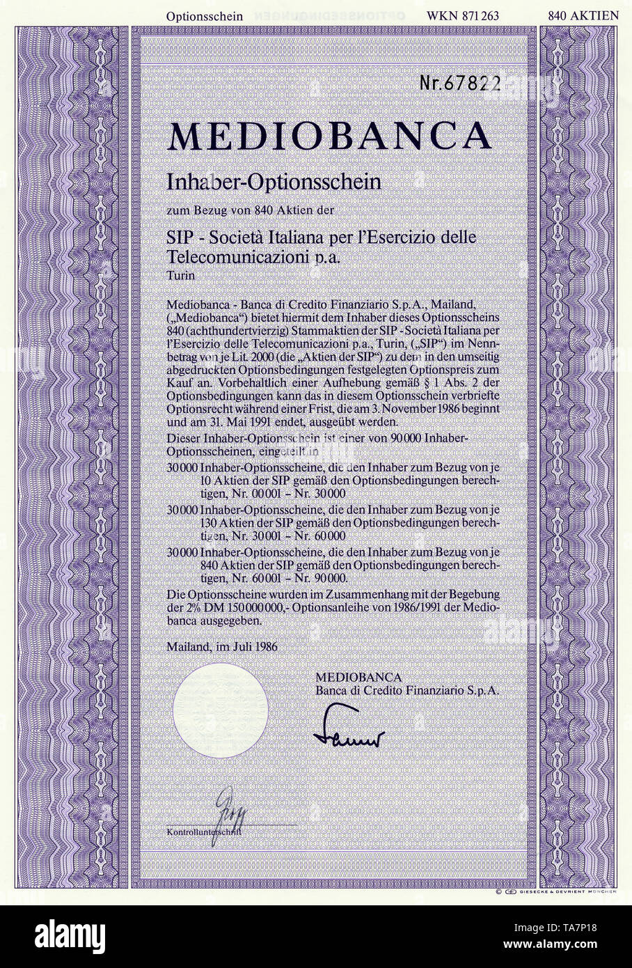 Historic stock certificate, Securities certificate, bearer warrant, Historisches Wertpapier, Inhaber-Optionsschein, italienische Kreditinstitut,  Industriefinanzierung,  Mediobanca, 1986, Mailand, Italien, Europa - Stock Image