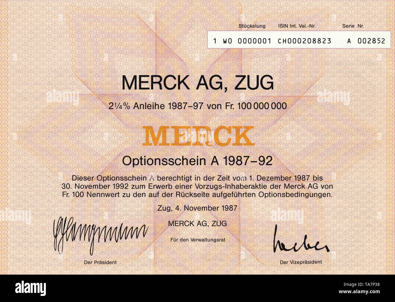 Historic stock certificate, Securities certificate, bearer warrant, chemical and pharmaceutical industry, Wertpapier, Inhaber-Optionsschein, Schweizer Franken, Chemie- und Pharmaindustrie, Merck AG, Zug, 1987, Schweiz, Europa - Stock Image
