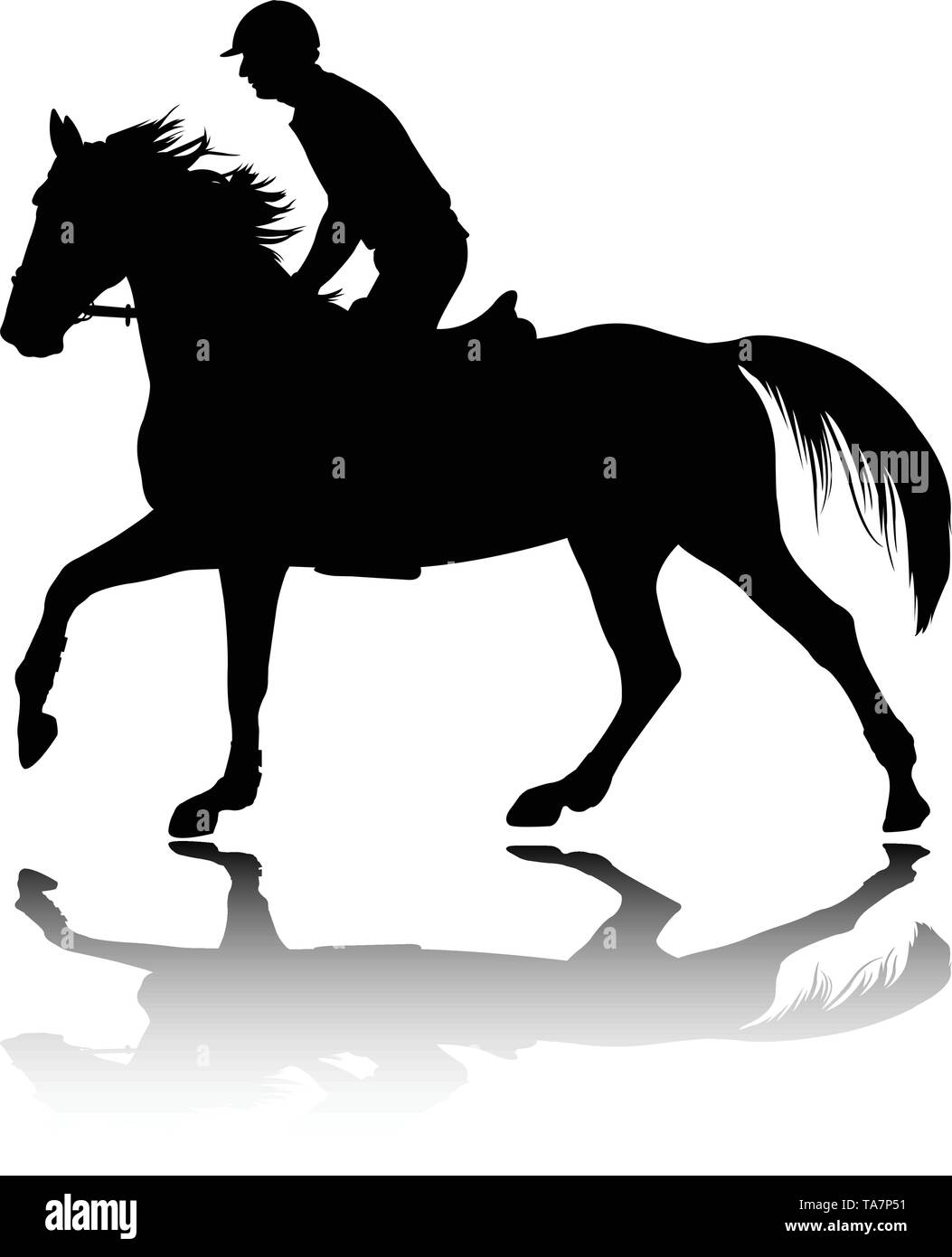 high quality silhouette of young man riding  horse - vector Stock Vector
