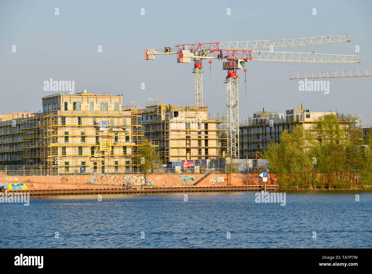 New building, residential accommodation Waterkant, water town of Spandau, Daumstrasse, to hook field, Spandau, Berlin, Germany, Neubau, Wohnquartier W - Stock Image