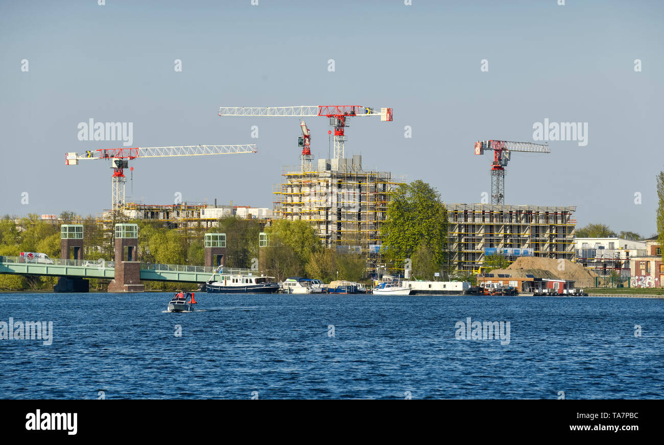 New building, residential accommodation Waterkant, water town of Spandau, Daumstrasse, sea bridge, to hook field, Spandau, Berlin, Germany, Neubau, Wo - Stock Image