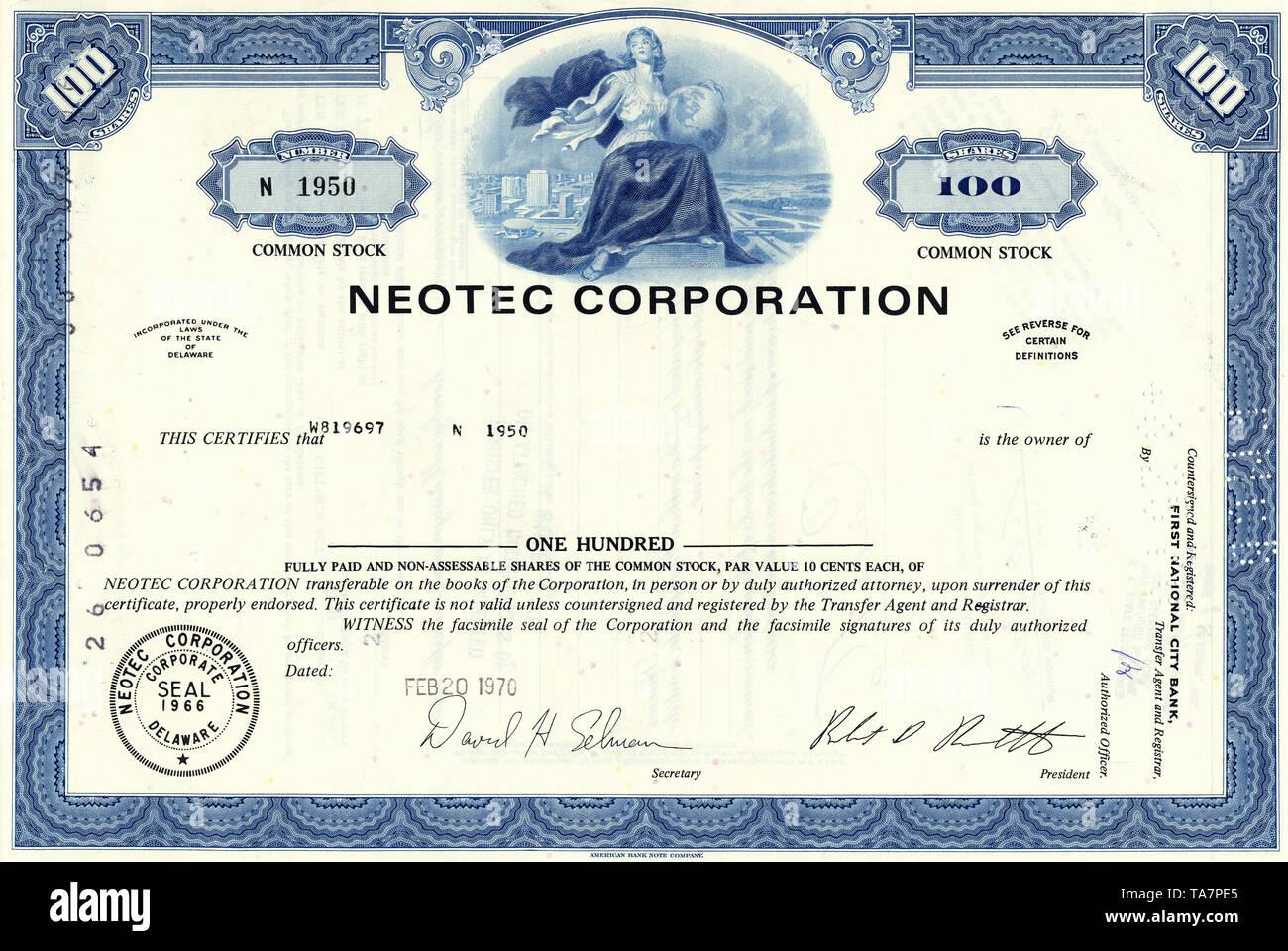 Historical stock certificate, Neotec Corporation, infrared technology for industrial and agricultural feed, Delaware, USA, 1970, Wertpapier, historische Aktie, Neotec Corporation, Infrarot (NIR)-Technologie für Industrie-und landwirtschaftliche Futtermittel, heute ein Teil von FOSS NIRSystems, Inc., 1970, Delaware, USA - Stock Image