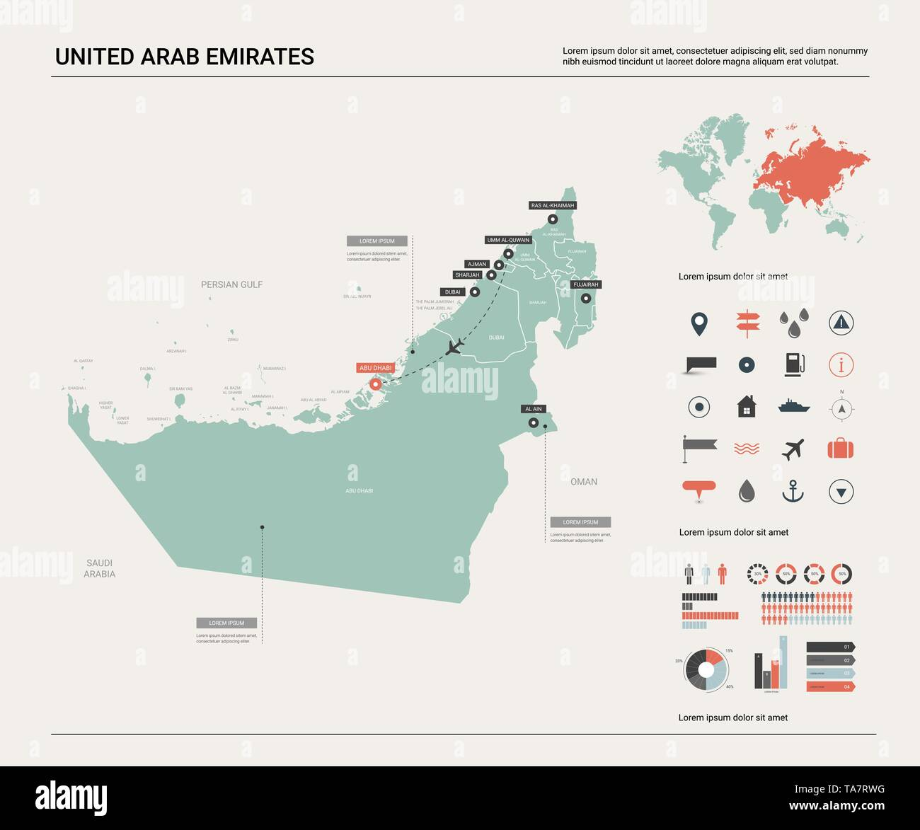 Picture of: Vector Map Of United Arab Emirates Country Map With Division Cities And Capital Abu Dhabi Political Map World Map Infographic Elements Stock Vector Image Art Alamy