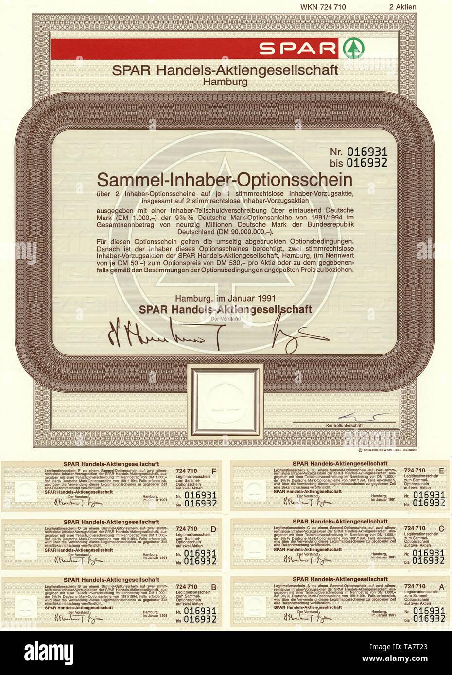 Historic stock certificate, Securities certificate, bearer warrant, Germany, Wertpapier, Inhaber-Optionsschein, 1000 Deutsche Mark, Lebensmitteleinzelhandel, SPAR Handels- Aktiengesellschaft, heute Tochtergesellschaft der Edeka Zentrale AG & Co KG., Hamburg, 1991, Deutschland, Europa - Stock Image