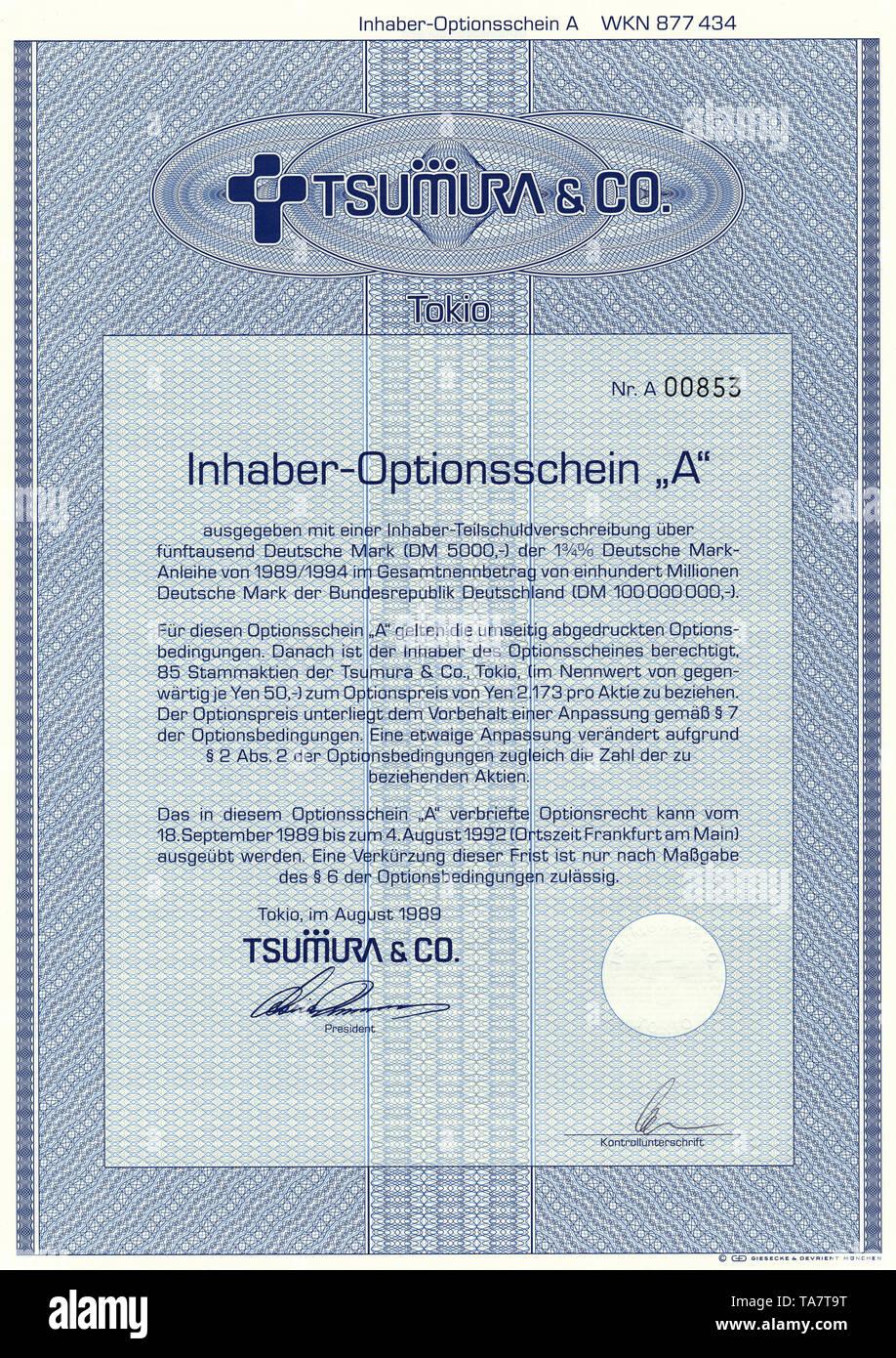 Historic stock certificate, Securities certificate, bearer warrant, Wertpapier, Inhaber-Optionsschein, japanische Yen, Deutsche Mark, Pharmaunternehmen, Tsumura & Co., 1989, Tokio, Japan, Asien - Stock Image