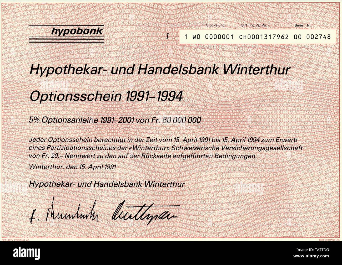 Historic stock certificate, Securities certificate, bearer warrant,Historisches Wertpapier, Inhaber-Optionsschein über 20 schweizer Franken, 1991, Hypobank, Hypothekar- und Handelsbank Winterthur, Schweiz, Europa - Stock Image