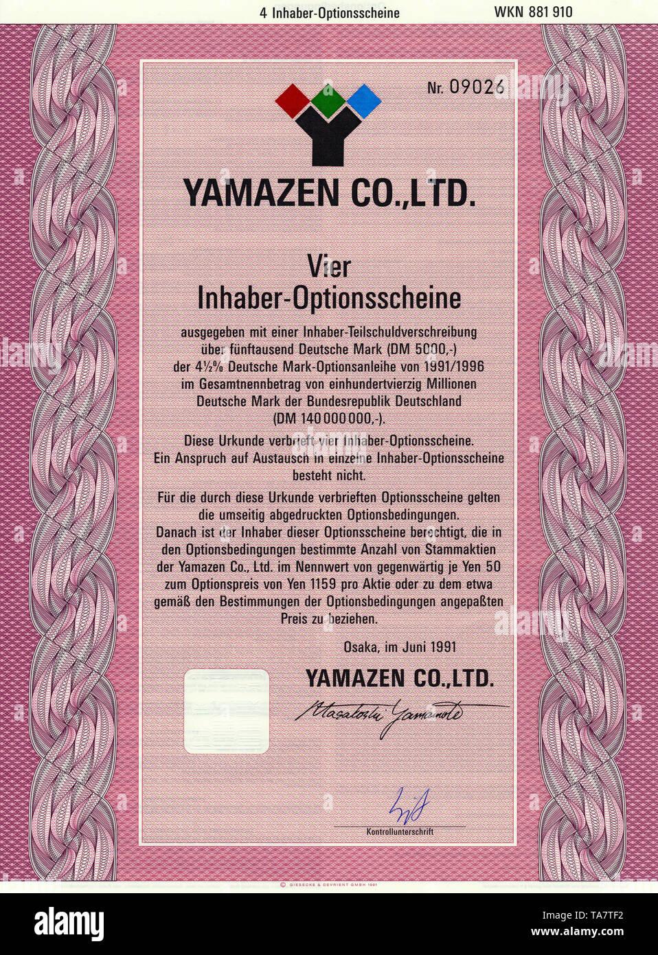 Historic stock certificate, Securities certificate, bearer warrant, mechanical engineering, Historisches Wertpapier, japanischer Inhaber-Optionsschein, Maschinenbau, Yamazen Co. Ltd., 1991, Osaka, Japan - Stock Image