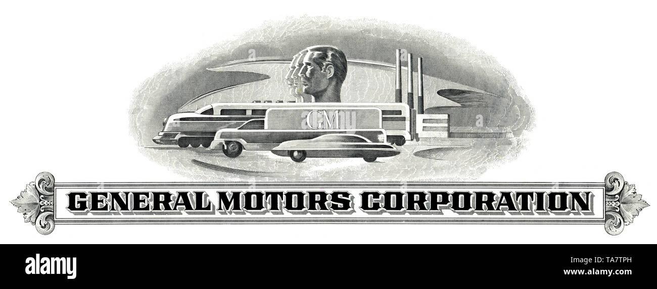 Historic share certificate, General Motors Corporation, GM, car company, Delaware, 1982, USA, Historische Aktie, Gerneral Motors Corporation, GM, Automobilkonzern, Delaware, 1982, USA - Stock Image