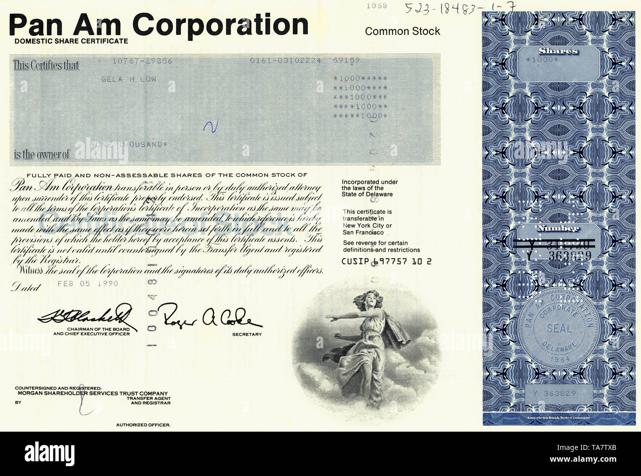 Historical stock certificate, American Airlines, Pan Am, Pan Am Corporation, 1990, Delaware, USA, Historische Aktie, Pan Am Corporation, 1990, Delaware, USA - Stock Image