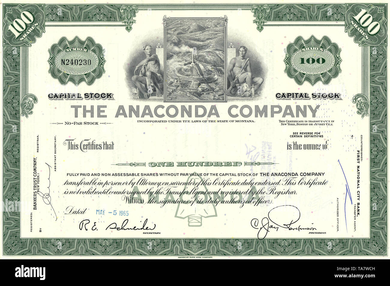 Historische Aktie, Kupferbergbau, The Anaconda Copper Mining Company, 1965, Montana, USA, Historical stock certificate - Stock Image
