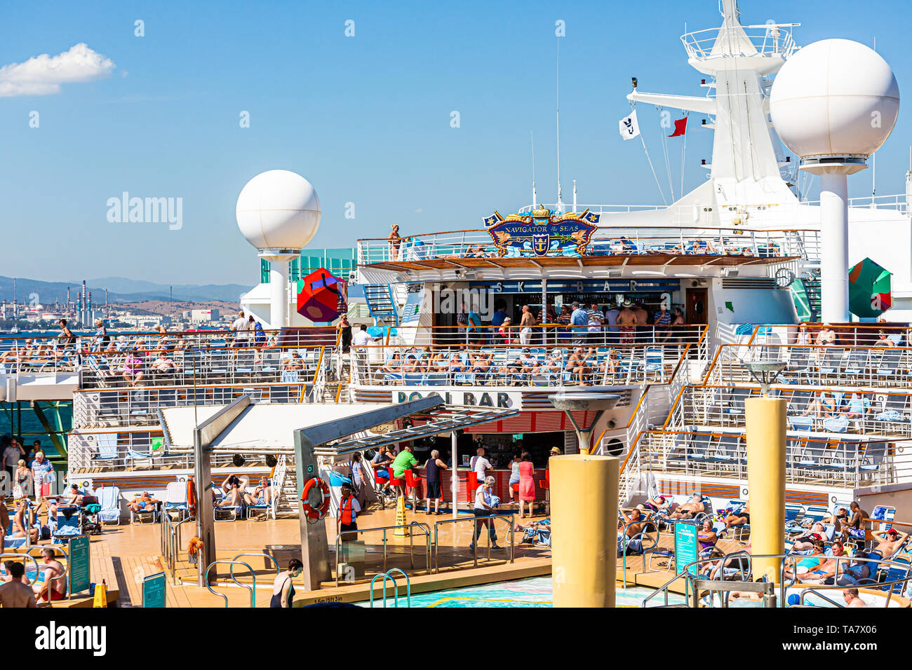 MIAMI, FLORIDA: September 21, 2016: Royal Caribbean was founded in Norway, but is now headquartered in Miami. They operate over 25 ships and sails aro - Stock Image