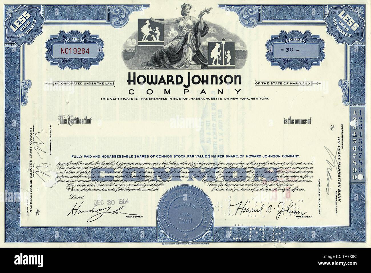 Historische Aktie, Restaurant- und Hotelkette, Howard Johnson Company, 1964, Maryland, USA, Historical stock certificate, restaurant and hotel chain, Howard Johnson Company, 1964, Maryland, USA - Stock Image