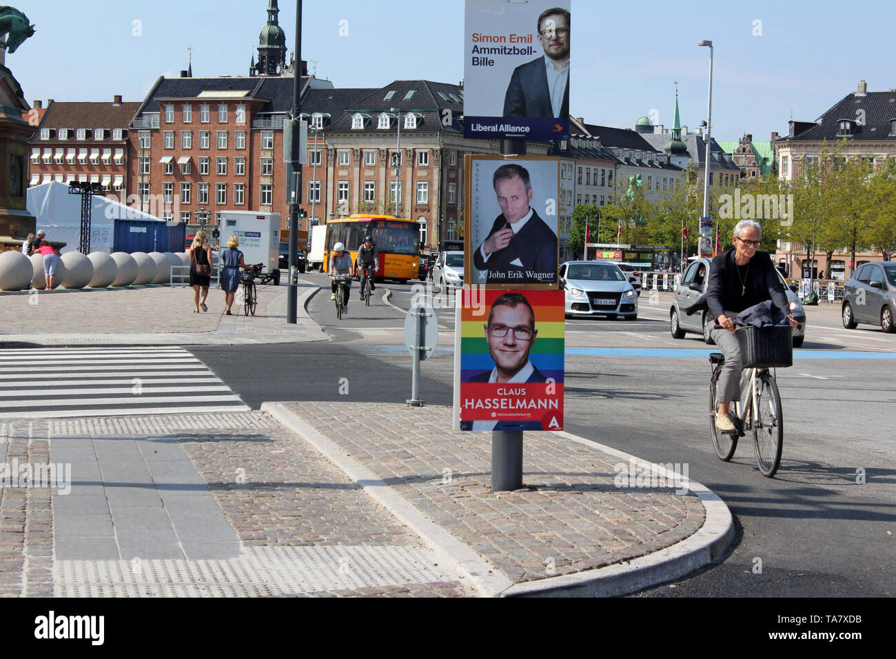 Election posters promoting candidates for 2019 Danish general election, Copenhagen, Denmark - Stock Image