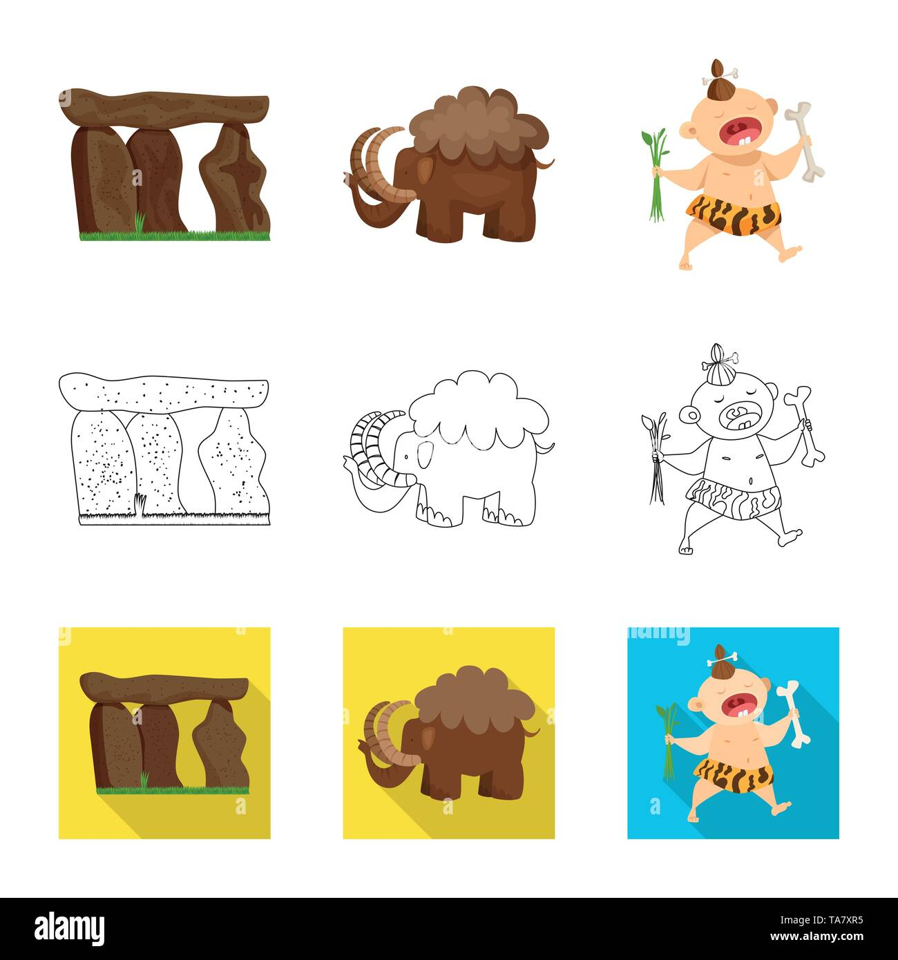 Vector illustration of evolution  and prehistory sign. Set of evolution  and development  stock symbol for web. - Stock Image
