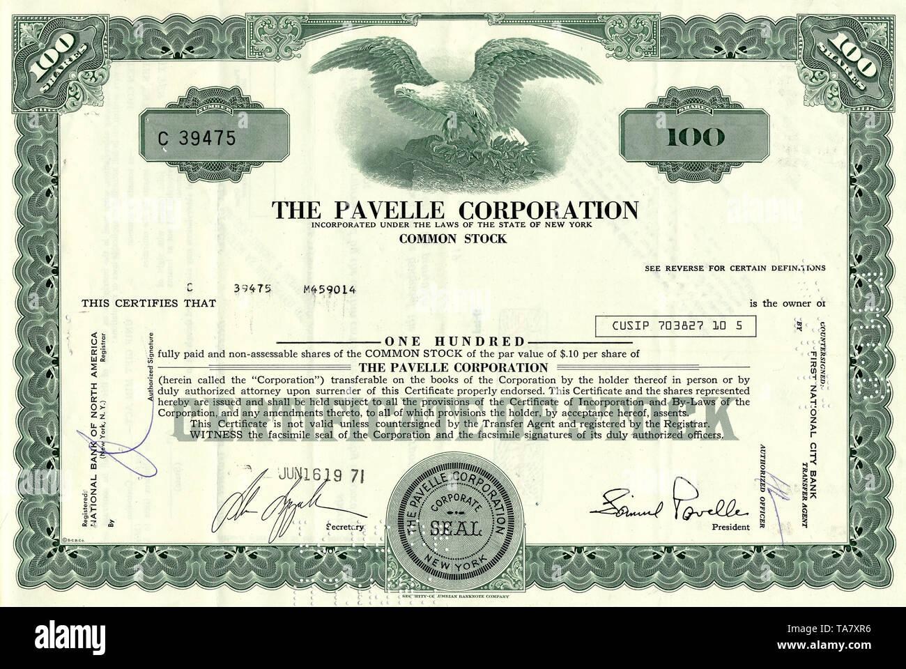 Historische Aktie, Foto, Chemie, Pavelle Corporation, 1971, New York, USA, Historical stock certificate - Stock Image