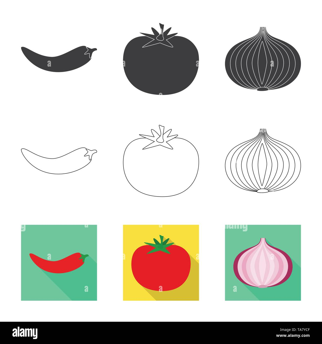 Isolated object of taste and product icon. Collection of taste and cooking stock vector illustration. - Stock Image