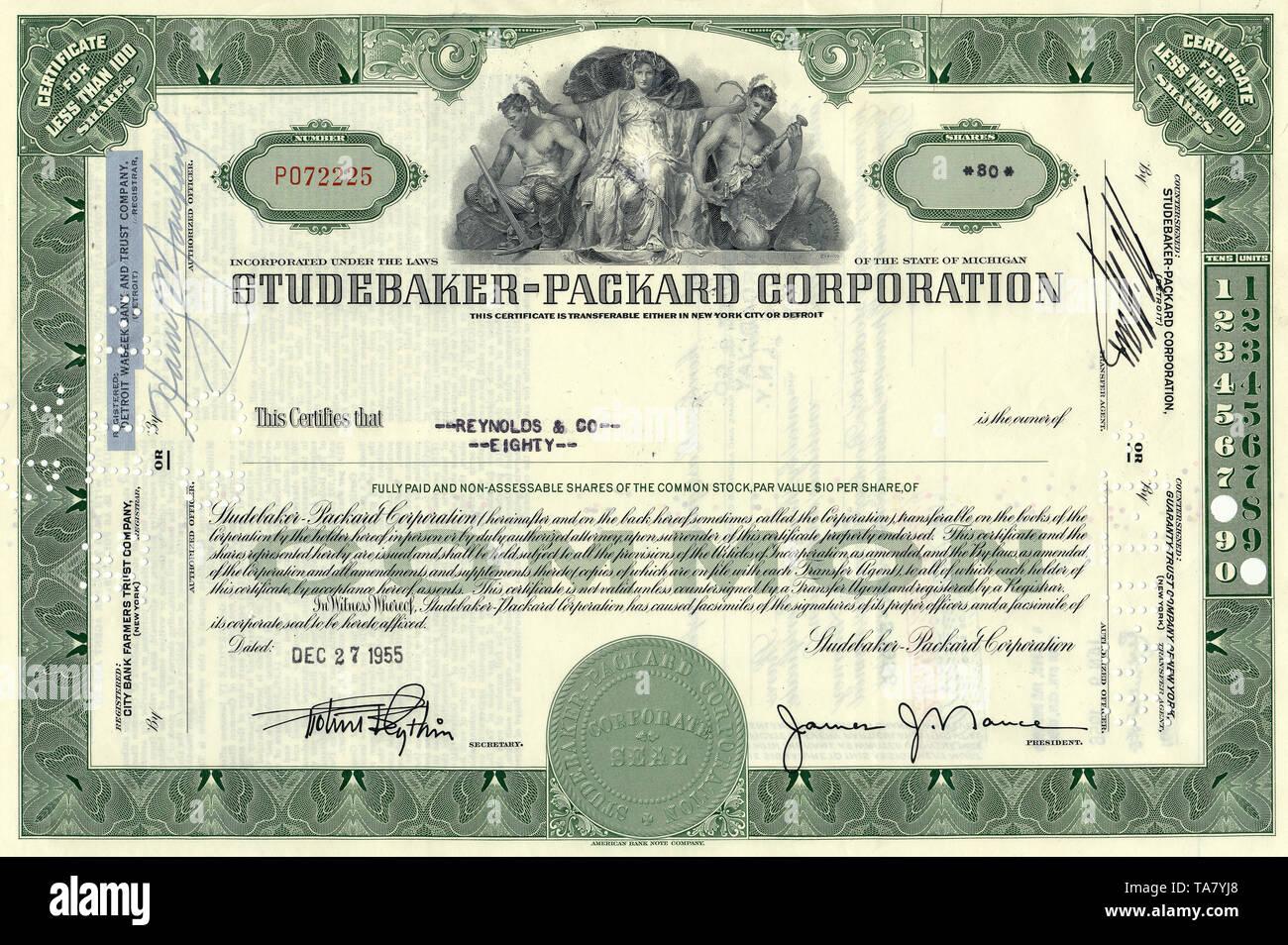 Historische Aktie, Automobilhersteller, Studebaker-Packard Corporation, 1955, New York, USA, Historical stock certificate, automobile manufacturers - Stock Image