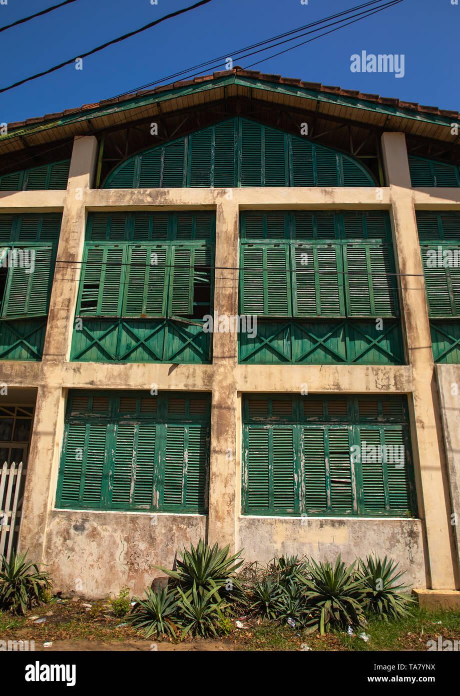 Old french colonial building formerly the customs house in the UNESCO world heritage area, Sud-Comoé, Grand-Bassam, Ivory Coast Stock Photo