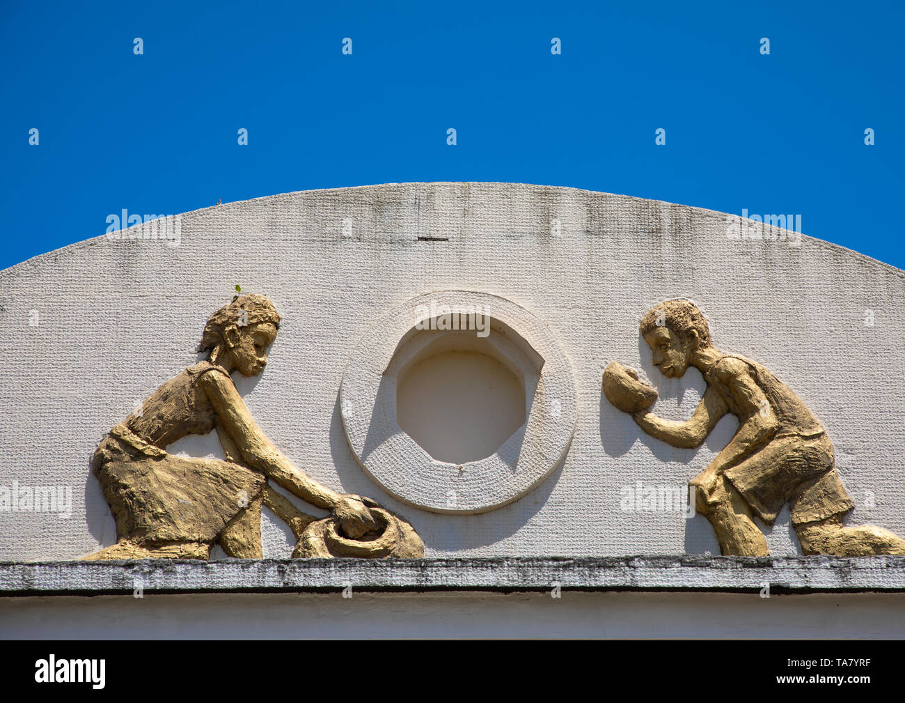 Detail of the facade of the centre culturel Jean-Baptiste Mockey formerly the vegetable market, Sud-Comoé, Grand-Bassam, Ivory Coast - Stock Image