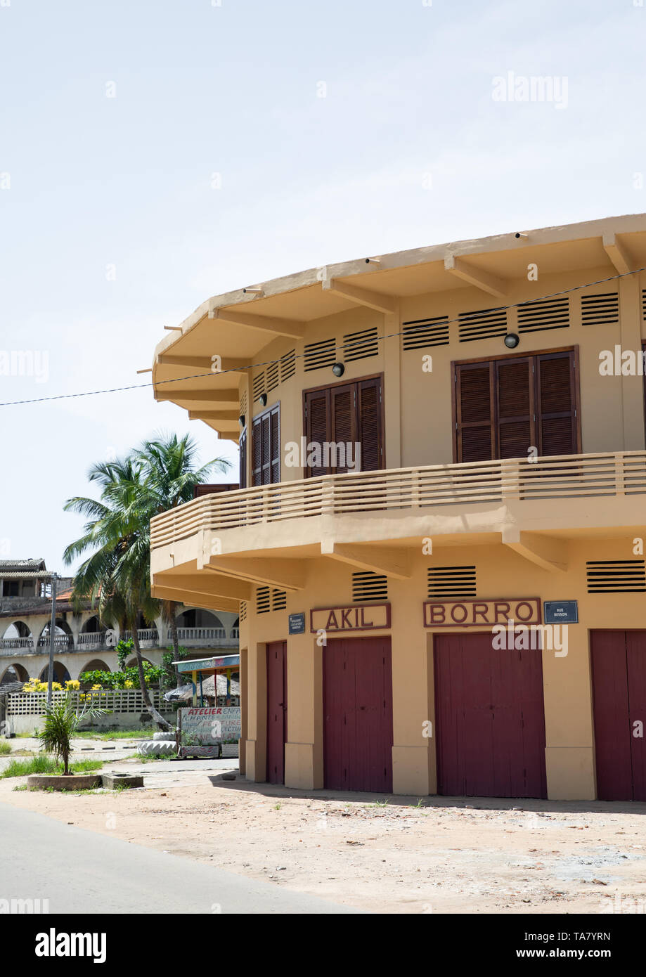 Maison Akil Borro old french colonial building, Sud-Comoé, Grand-Bassam, Ivory Coast - Stock Image