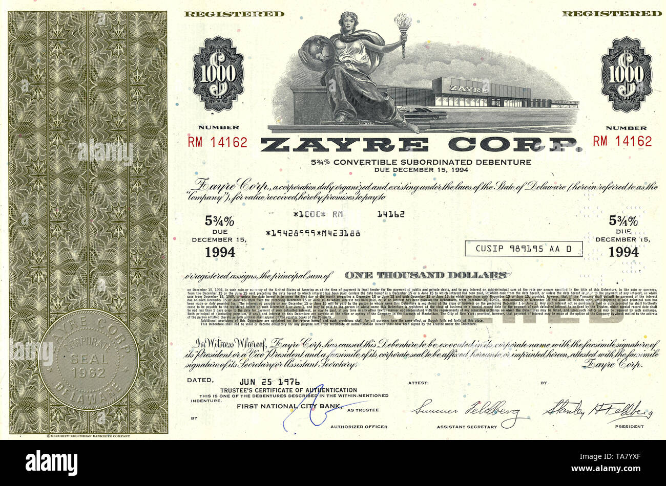 Historische Aktie, Einzelhandel, Zayre Corporation, 1976, Framingham, Massachusetts, USA, Historical stock certificate, retail, Zayre Corporation, 1976, Framingham, Massachusetts, USA - Stock Image
