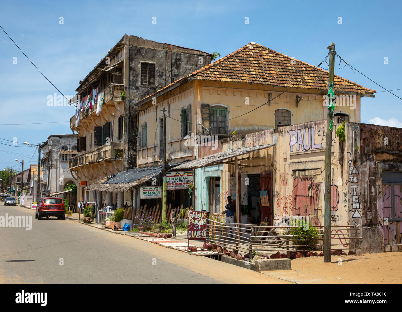 Old french colonial building in the UNESCO world heritage area, Sud-Comoé, Grand-Bassam, Ivory Coast Stock Photo