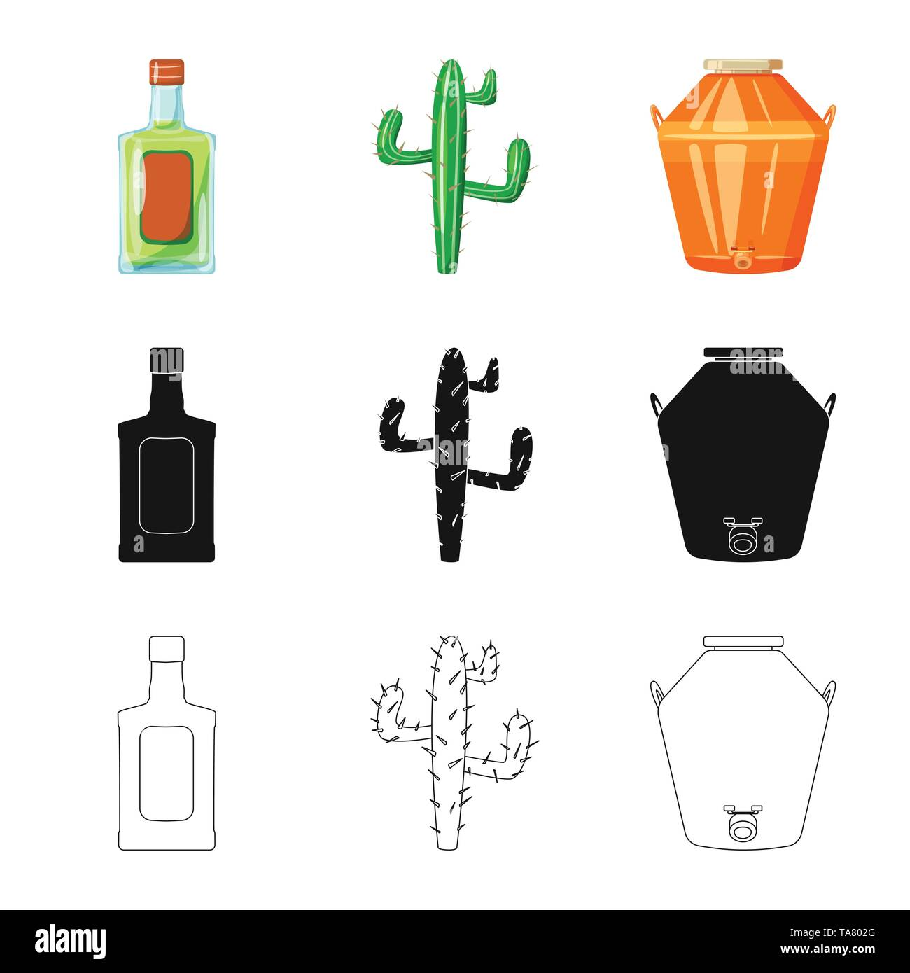 Vector design of cafe and Latin symbol. Collection of cafe and national stock symbol for web. - Stock Image