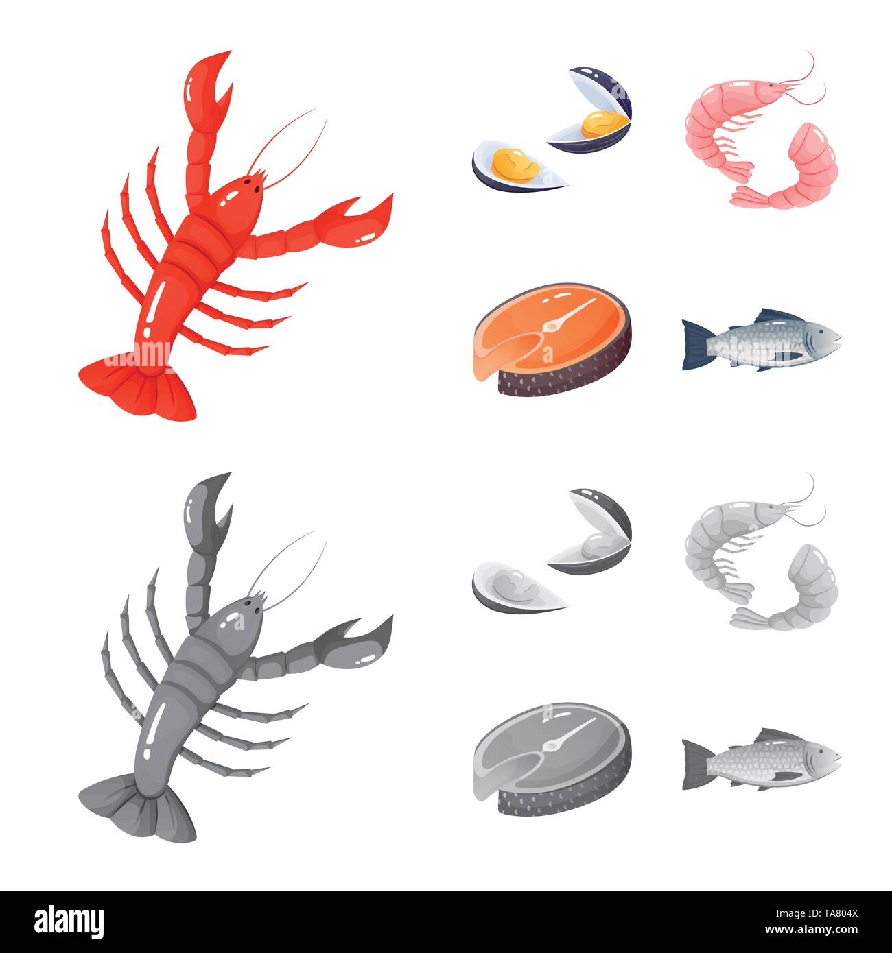 Vector illustration of fresh  and restaurant logo. Collection of fresh  and marine   stock symbol for web. - Stock Image