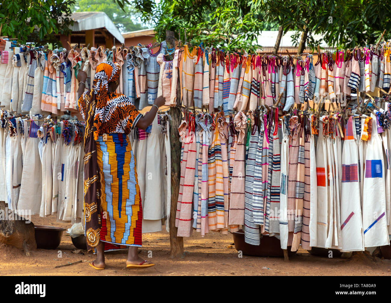 Senufo textiles and clothing at street market, Savanes district, Waraniene, Ivory Coast Stock Photo