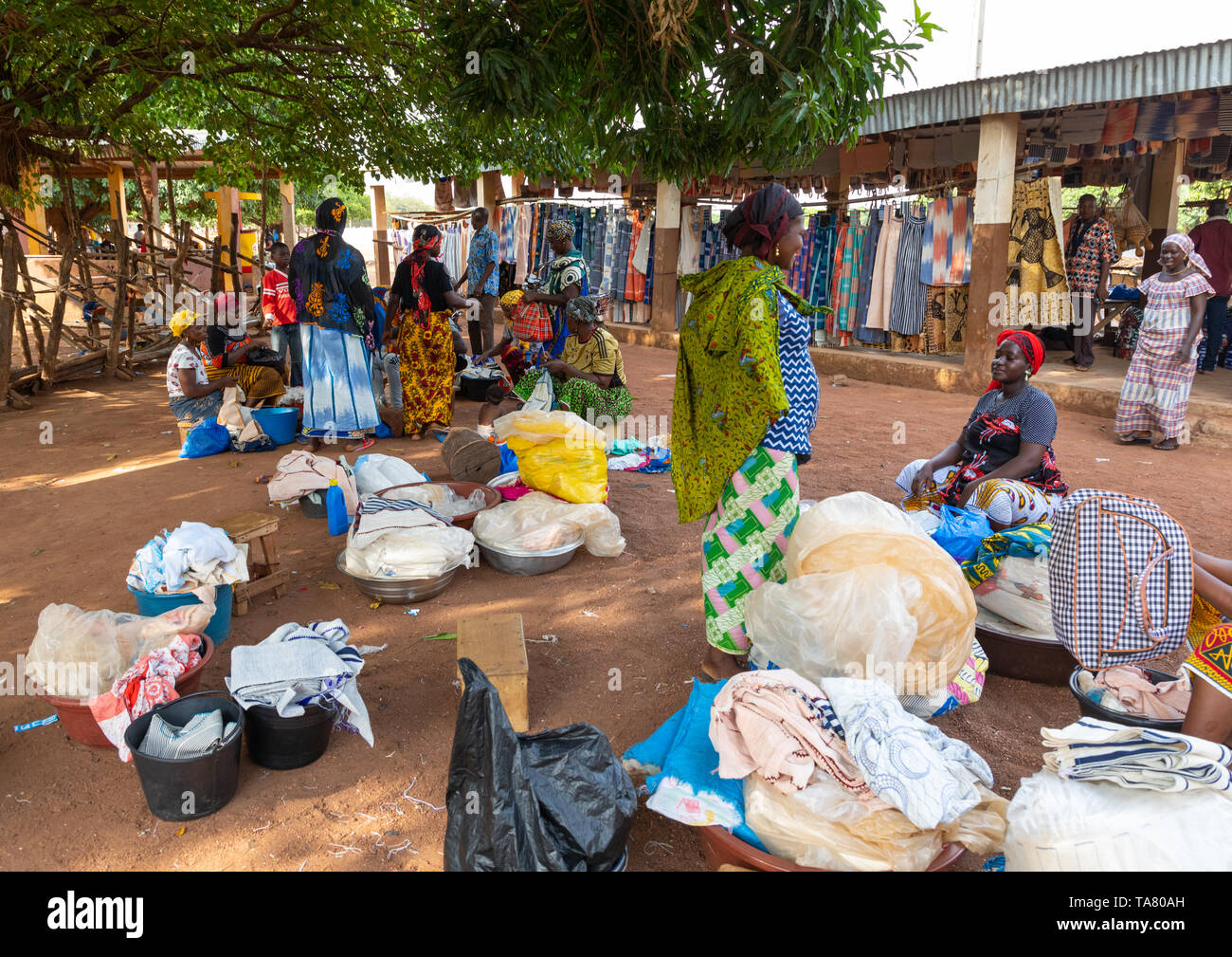 Senufo women selling clothes under a giant tree in a village, Savanes district, Waraniene, Ivory Coast - Stock Image